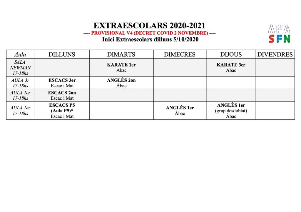 Calendari Extraescolars mentre duri el decret del 2/11 d'enduriment de les mesures de protecció per la Covid19